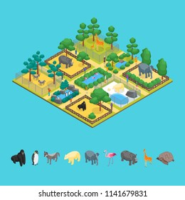 Zoo Concept and Elements 3d Isometric View Animal Wildlife Nature Park on a Blue Background. Vector illustration of Zoological Garden