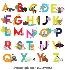 Zoo English Alphabet set with funny cartoon animals and letters form a to z. Collection of vector character designs on white background. Can be used like poster, greeting cards, cover design