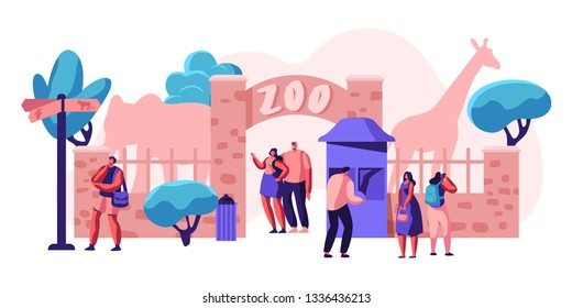 Zoo Entrance Gate with Giraffe and Elephant. People with Exotic African Animals. Family Summer Weekend Outdoor. Woman Visitor take Picture Fauna. Flat Cartoon Vector Illustration