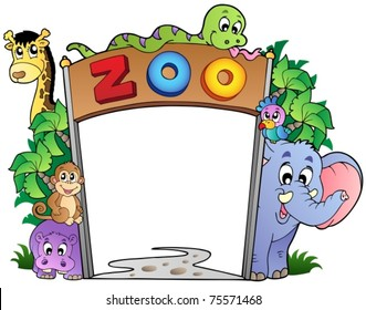 Zoo entrance with various animals - vector illustration.