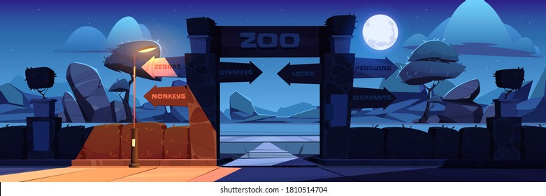 Zoo entrance with wooden board on arch at night. Vector cartoon landscape with entry gates to zoological garden, direction signs to different animals, stones, trees and moon in sky