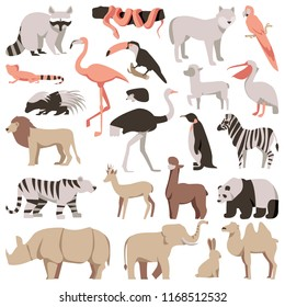 Zoo flat animals set. Tropical and exotic wild collection