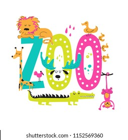 Zoo hand-drawn sign with cute animals in cartoon style, lion, monkey, crocodile, giraffe, duck, bird. Illustration for holiday party, kids camping, fest etc, zoo market, curcus. Vector illustration
