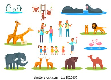 Zoo icon set. Vector flat illustration of zoo animals and visitors happy families, adults, kids watching polar penguins, exotic and woodland animals isolated on white background.