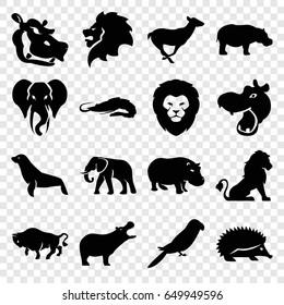 Zoo icons set. set of 16 zoo filled icons such as lion, hippopotamus, alligator, hedgehog, elephant, buffalo, antelope, parrot