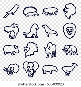 Zoo icons set. set of 16 zoo outline icons such as lion, hippopotamus, hedgehog, elephant, antelope, parrot, buffalo