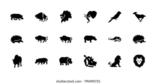 Zoo icons. set of 18 editable filled zoo icons: lion, hedgehog, buffalo, parrot, hippopotamus, alligator, antelope