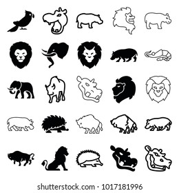 Zoo icons. set of 25 editable filled and outline zoo icons such as lion, buffalo, hippopotamus, hedgehog, elephant, parrot