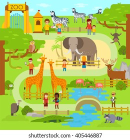 Zoo infographics elements with elephant, giraffe, vulture, crocodile, monkey, deer, zebra and snake. Vector flat illustration. Fanny animals in park - stock vector