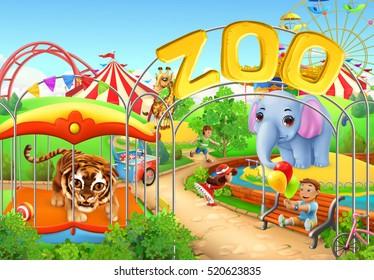 Zoo. Kids playground. Amusement park. 3d vector illustration