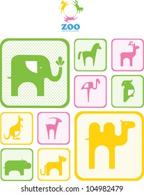 Zoo logo.  logos and icons with animals. design. abstract emblem or logo