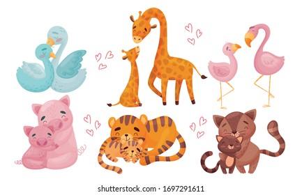 Animales de mamá zoológico con sus cachorros abrazándose y cocinando su conjunto vectorial