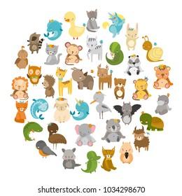 zoo. vector set with cute animals. tiger, lion, dolphin, fish, raccoon, hedgehog, wolf, fox, lynx, rhinoceros, chinchilla, hamster, turtle, koala, panda, elephant, unicorn