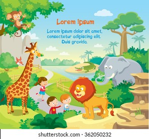 zoo with wild african animals, kids watching and background. The fauna of Africa, animals living in Africa.