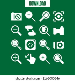 zoom icon. 16 zoom vector set. compact camera, aperture, loupe and zoom out icons for web and design about zoom theme
