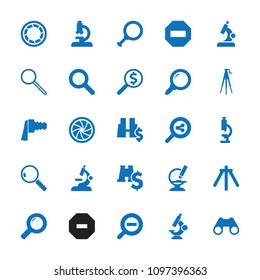 Zoom icon. collection of 25 zoom filled icons such as microscope, binoculars, minus, search share, search, camera shutter. editable zoom icons for web and mobile.
