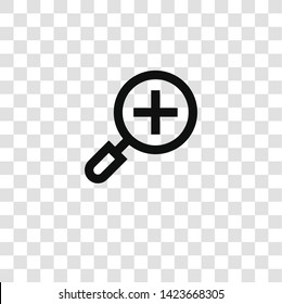 zoom in icon from miscellaneous collection for mobile concept and web apps icon. Transparent outline, thin line zoom in icon for website design and mobile, app development