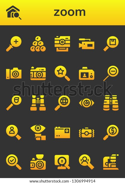 Zoom Icon Set 26 Filled Zoom Stock Vector (Royalty Free