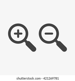 Zoom Icon in trendy flat style isolated on grey background. Enlarge and decrease symbols for your web site design, logo, app, UI. Vector illustration, EPS10.
