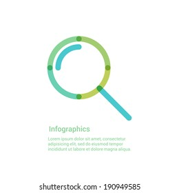 Zoom lens, search or magnifying glass flat line icon infographic illustration template for web or brochure. Vector illustration.