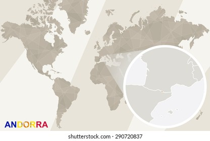 Zoom on Andorra Map and Flag. World Map.