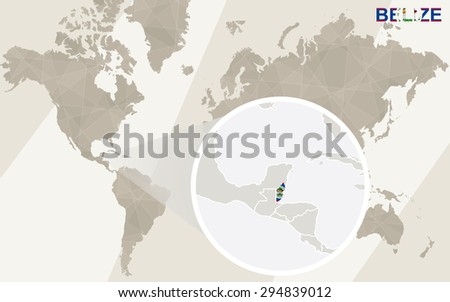 Zoom On Belize Map Flag World Stock Vector Royalty Free 294839012