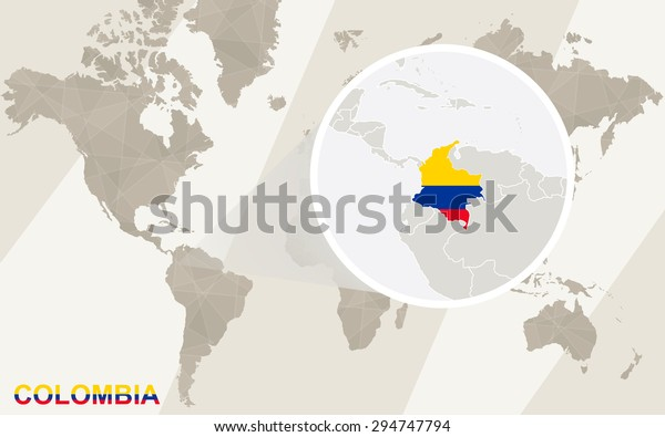 Zoom On Colombia Map Flag World Stock Vector (Royalty Free ...