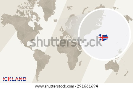 Zoom On Iceland Map Flag World Stock Vector (Royalty Free) 291661694 ...