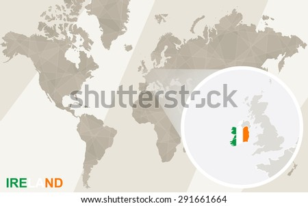 Zoom On Ireland Map Flag World Stock Vector (Royalty Free) 291661664 ...
