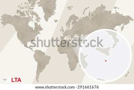 Zoom On Malta Map Flag World Stock Vector (Royalty Free) 291661676 ...