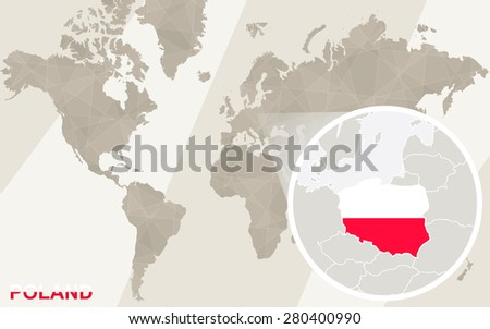 Zoom On Poland Map Flag World Stock Vector (Royalty Free) 280400990 ...