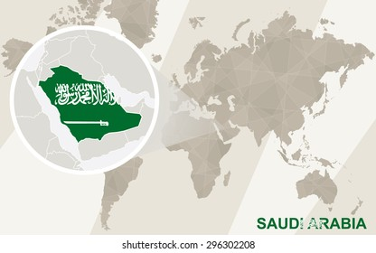 Zoom on Saudi Arabia Map and Flag. World Map.