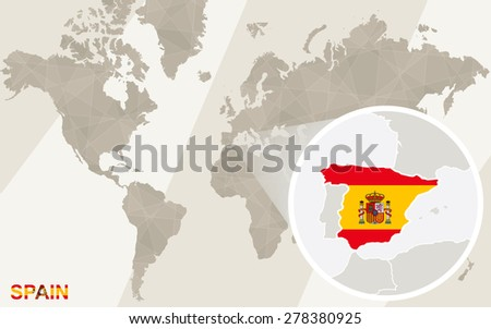 Zoom On Spain Map Flag World Stock Vector (Royalty Free) 278380925 ...