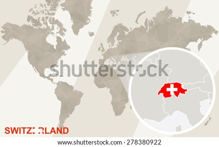 Zoom On Switzerland Map Flag World Stock Vector Royalty Free