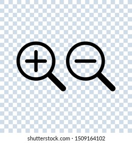 Zoom In and Zoom Out Icons. magnifying glass icons. Zoom in and out magnifying glass icon vector