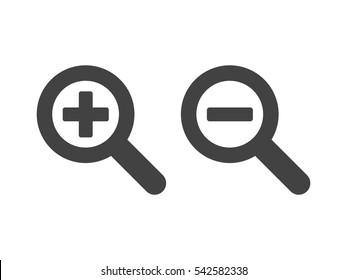 Zoom in and out magnifying glass icon vector