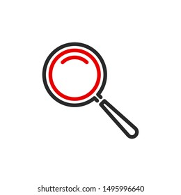 zoom scale with magnifier glass outline flat icon. Single quality outline logo search symbol for web design mobile app. Thin line design logo sign. Loupe zooming lens icon isolated on white background