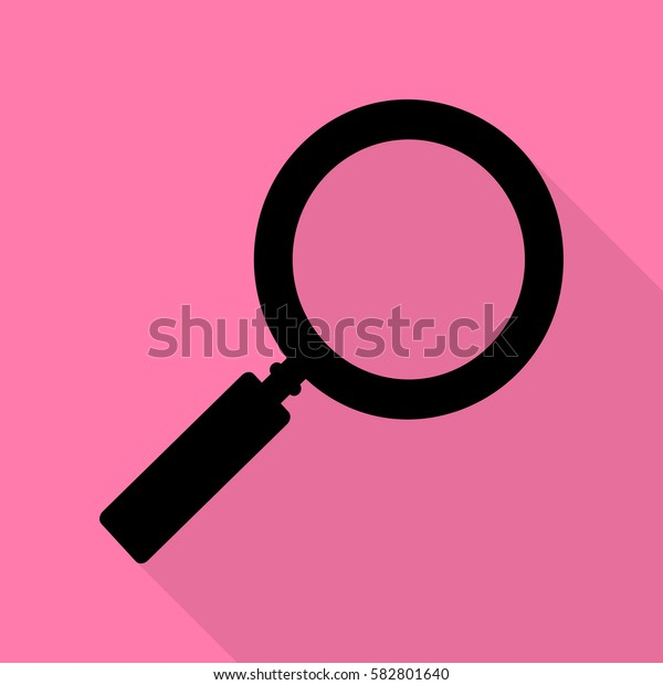 Zoom sign illustration. Black icon with flat style shadow path on pink background.