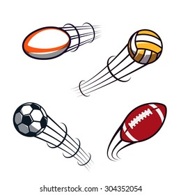 Zooming colorful soccer, volleyball, rugby, american football balls illustrations flying through the air with curved motion trails. Vector abstract illustration