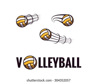 Zooming colorful volleyball ball illustration flying through the air with curved motion trails and volleyball sign. Vector abstract illustration