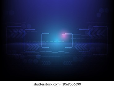 Zooming line with lights and technical decoration, Technology abstract, Sci-Fi and engineering concept, Vector illustration background, Backdrop, wallpaper, template.