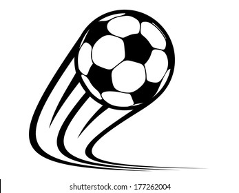 Zooming soccer ball logo flying through the air with curved motion trails in a black and white vector doodle sketch