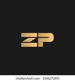 ZP or PZ logo vector. Initial letter logo, golden text on black background