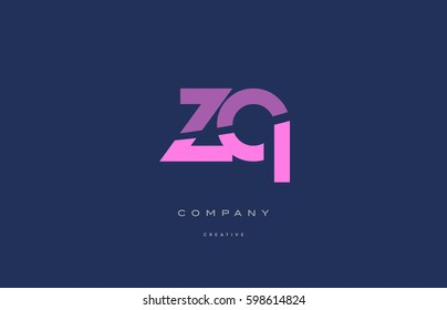 zq z q  pink blue pastel modern abstract alphabet company logo design vector icon template