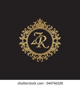 ZR initial luxury ornament monogram logo
