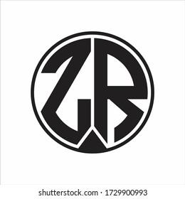 ZR Logo monogram circle with piece ribbon style on white background