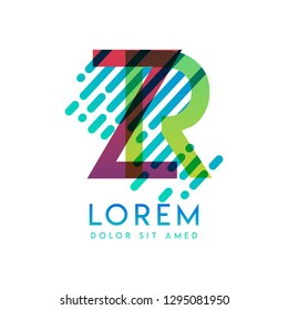 ZR logo with the theme of galaxy speed and style that is suitable for creative and business industries. RZ Letter Logo design for all webpage media and mobile, simple, modern and colorful