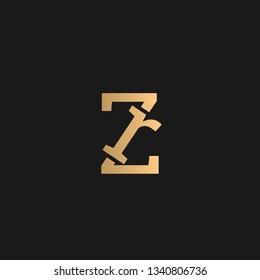 ZR or RZ logo vector. Initial letter logo, golden text on black background