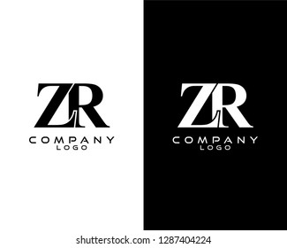 zr/rz ompany linked letter modern logo black and white color vector for business and company