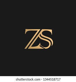 ZS or SZ logo vector. Initial letter logo, golden text on black background